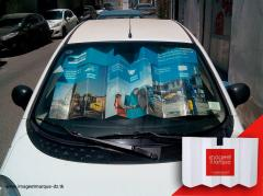 Pare-soleil publicitaire automobile en carton